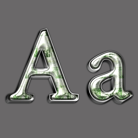 Metal alphabet symbol for web or writing photo