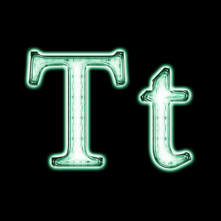Glowing neon letter on black background for web or desktop photo