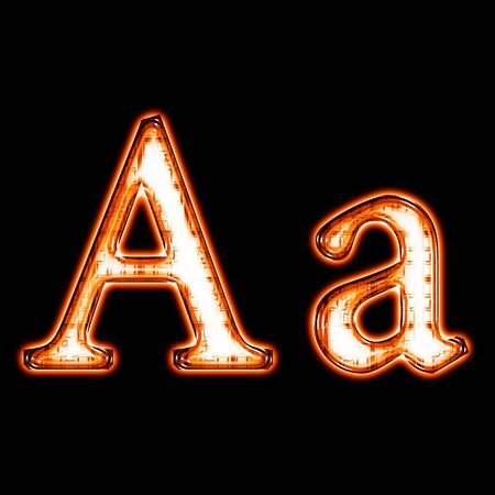 Glowing neon letter on black background for web or desktop Stock Photo