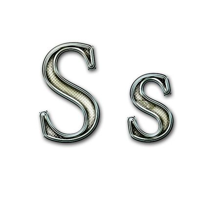 snakeskin: Chrome alphabet with snakeskin for web or letter Stock Photo