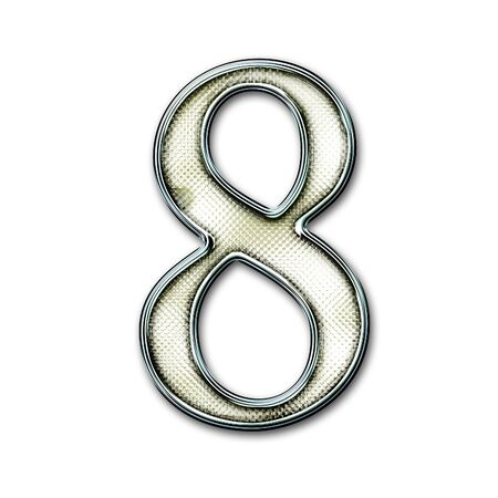 snakeskin: Chrome number with snakeskin for web or letter Stock Photo
