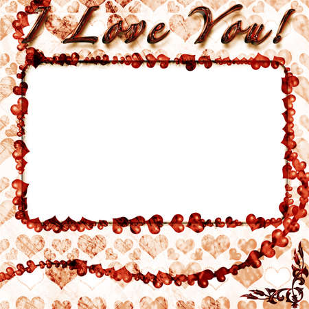 Grunge photo frame with hearts for web or desktop Stock Photo - 8741323
