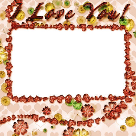 Grunge photo frame with hearts for web or desktop photo