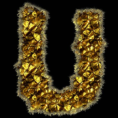The letter made of stones and gold for web or letter