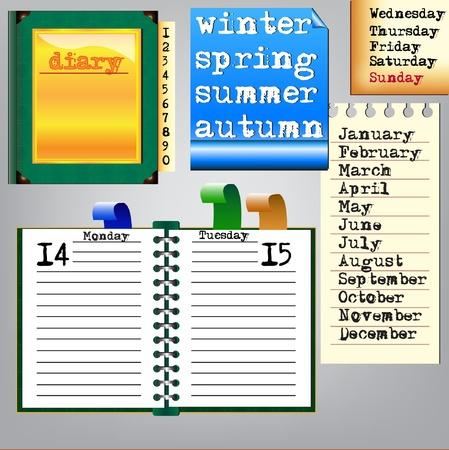 Vector diary with calendar