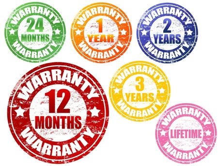 Set of colored warranty grunge rubber stamps Stock Photo - 7561013
