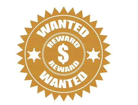 sticker  illustration with word wanted written inside Stock Illustration - 7560493