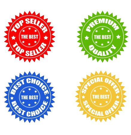 Set of the best seller, offer quality and choice stickers Stock Photo - 7560497