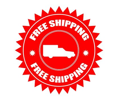 Red stiker with car shape and the text free shipping written inside photo