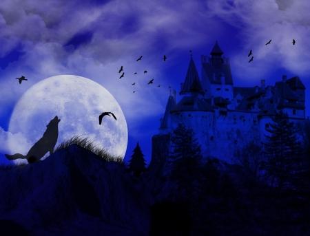 lobo feroz: puesta de sol azul en lugar scarry con lobo aullando a la Luna y el viejo castillo  Foto de archivo