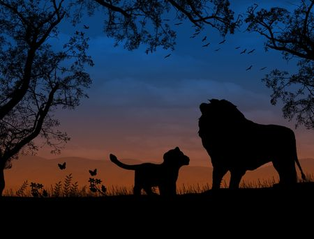 Lions on beautiful  sunset landscape . Background illustration Stock Illustration - 7560389