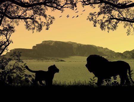 Lions on beautiful  sunset landscape . Background illustration Stock Illustration - 7560392