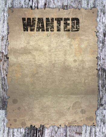 antique page - wanted - vintage wanted poster on wooden Stock Photo - 7560398