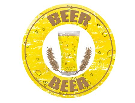 Yellow grunge rubber stamp with the beer mug and cereal shape, and the word beer written inside the stamp Stock Photo - 7583849