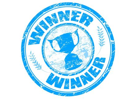 achiever: Blue grunge rubber stamp with cup silhouette and the text winner written inside the stamp