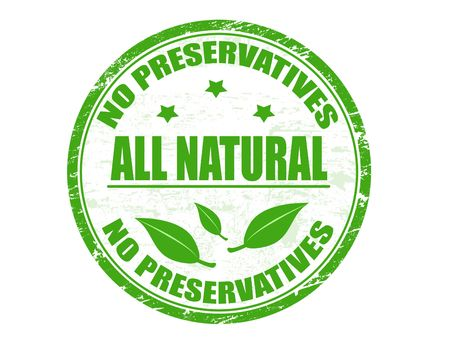 preservatives: Grunge rubber stamp with text No preservatives - all natural  written inside