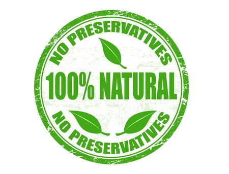 preservatives: Grunge rubber stamp with text No preservatives - 100% natural  written inside Stock Photo