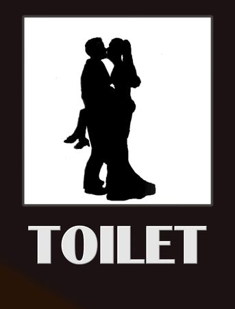 male symbol: funny male and female bathroom sign black on white