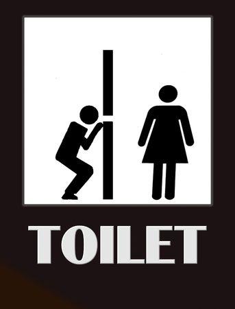 Funny baño masculinos y femeninos signo negro sobre blanco  Foto de archivo - 7675031