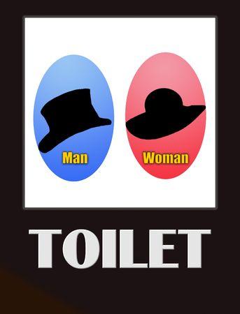 wc: Funny männlichen und weiblichen Bad Sign schwarz auf weiß