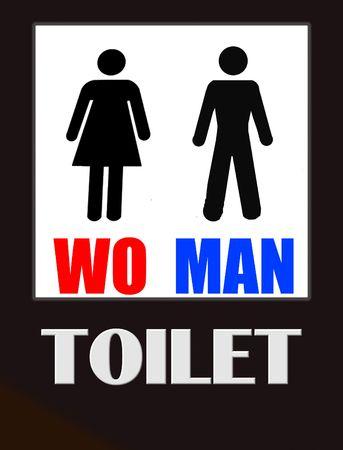 unisex: Funny ba�o masculinos y femeninos signo negro sobre blanco