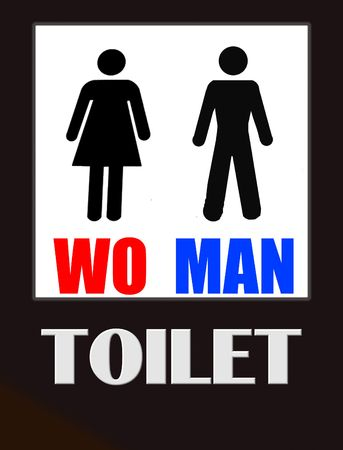 bathroom sign: funny male and female bathroom sign black on white