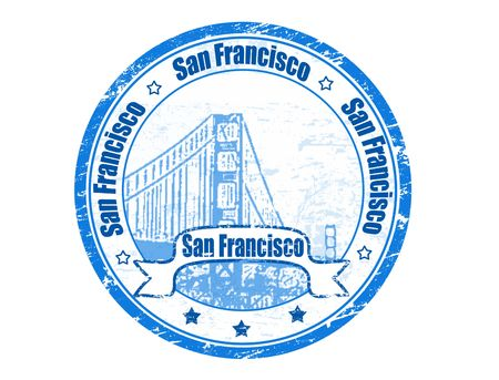 Grunge rubber stamp with Golden Gate Bridge and the word San Francisco written inside Stock Photo - 7675051