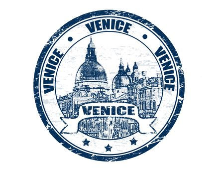 venice mask: Blue grunge rubber stamp with  the grand canal shape and the word Venice written inside