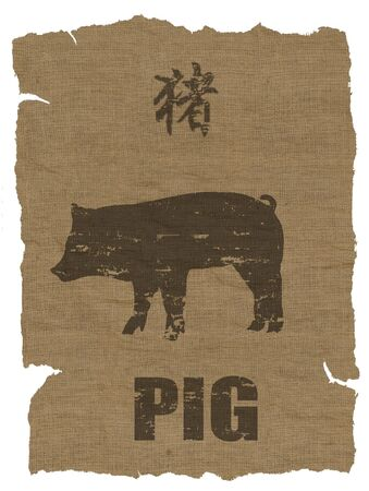 Pig Zodiac icon on texture of old canvas Stock Photo - 7800368