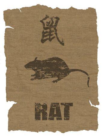 Rat Zodiac icon on texture of old canvas photo