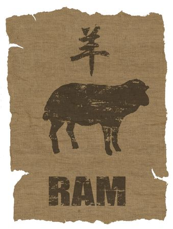 fortunetelling: Ram  Zodiac icon on texture of old canvas Stock Photo