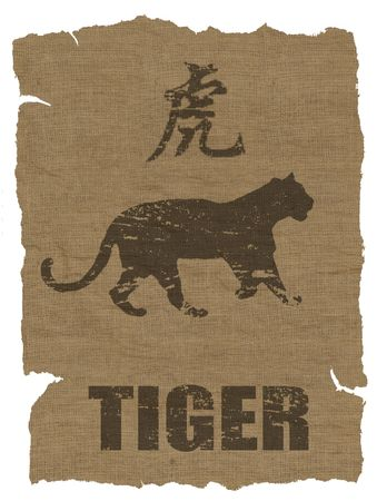 year of the tiger: Tiger Zodiac icon on texture of old canvas Stock Photo