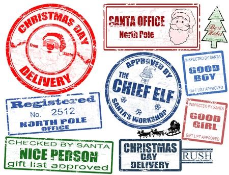 Set di isolati grunge francobolli di Natale su sfondo bianco, illustrazione vettoriale