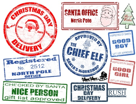 postal office: Set of isolated grunge Christmas stamps on white background, vector illustration Illustration