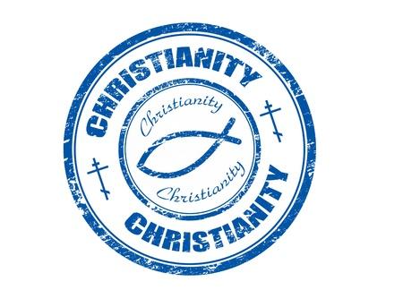 물고기 기호와 단어 기독교가 스탬프 안에 작성 블루 그런 지 도장