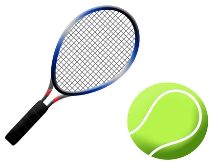 raquet: Tennis racket and ball vector illustration, on white background