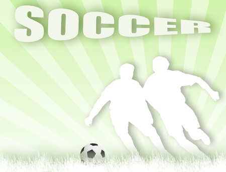 Vector illustrated cutout with soccerl players background Vector
