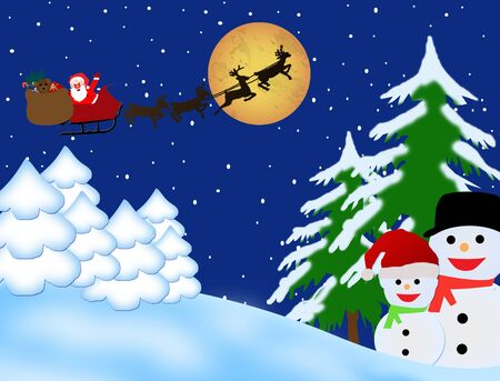 Santa Claus on sledge with Magic Deers flying over night winter, vector illustration backgound Vector