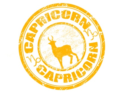 Yellow grunge rubber stamp with capricorn shape and the capricorn zodiac symbol Stock Vector - 11005383