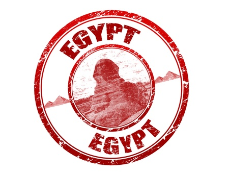 egyptian: Red grunge rubber stamp with sphinx, shape and the name of Egypt written inside