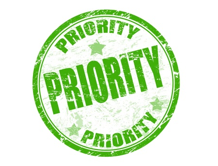priority: Green grunge rubber stamp with the word priority written inside the stamp