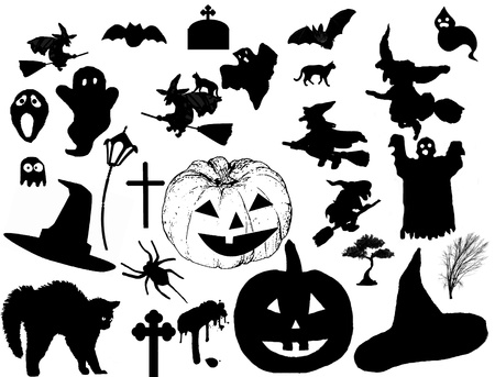 vector collection of halloween silhouettes, vector illustration Vector