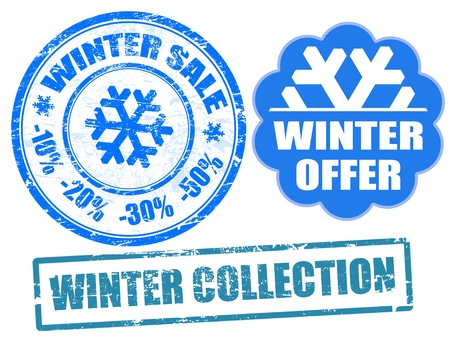 Set of winter sale stamps and label, vector illustration Stock Vector - 11005384