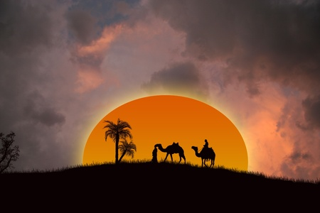 tunisia: Sunset in the Sahara Desert with Bedouins and palms Illustration