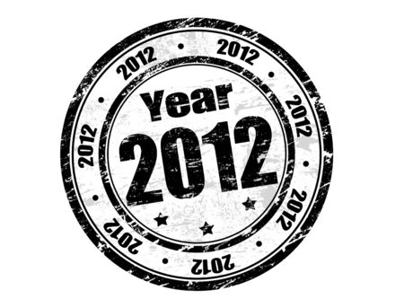 Vector 2012 year stamp with black ink Stock Vector - 11005394
