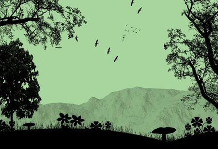 foglie di quercia: Paesaggio estivo con alberi e montagne, illustrazione vettoriale