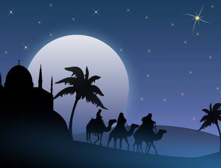Classic three magic scene and shining star of Bethlehem, vector illustration