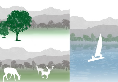 Set of mountains landscapes, vector illustration Vector