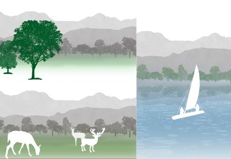 cedar: Set of mountains landscapes, vector illustration