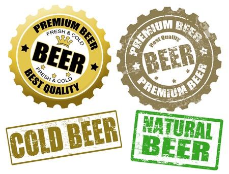 botellas de cerveza: Conjunto de etiquetas de botellas de cerveza y tapa de sellos de goma cerveza grunge, ilustración vectorial Vectores